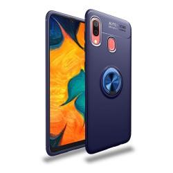 Funda Magnetica Soporte con Anillo Giratorio 360 para Samsung Galaxy A40 color Azul