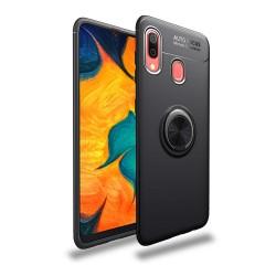 Funda Magnetica Soporte con Anillo Giratorio 360 para Samsung Galaxy A40 color Negra