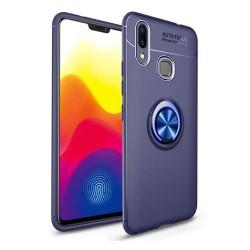Funda Magnetica Soporte con Anillo Giratorio 360 para Samsung Galaxy M20 color Azul