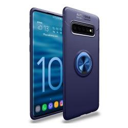 Funda Magnetica Soporte con Anillo Giratorio 360 para Samsung Galaxy S10 Plus color Azul