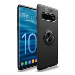 Funda Magnetica Soporte con Anillo Giratorio 360 para Samsung Galaxy S10 Plus color Negra