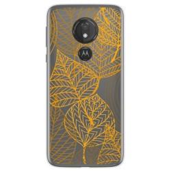 Funda Gel Transparente para Motorola Moto G7 Power diseño Hojas Dibujos