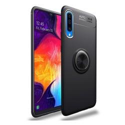 Funda Magnetica Soporte con Anillo Giratorio 360 para Samsung Galaxy A70 Negra