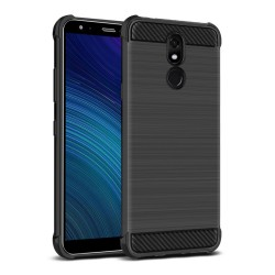 Funda Gel Tpu Anti-Shock Carbon Negra para Lg K40