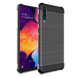 Funda Gel Tpu Anti-Shock Carbon Negra para Samsung Galaxy A70