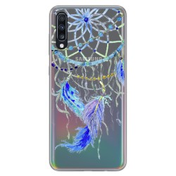 Funda Gel Transparente para Samsung Galaxy A70 diseño Plumas Dibujos