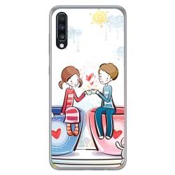 Funda Gel Tpu para Samsung Galaxy A70 diseño Café Dibujos
