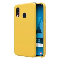 Funda Silicona Líquida Ultra Suave para Samsung Galaxy A40 color Amarilla