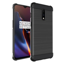 Funda Gel Tpu Anti-Shock Carbon Negra para Oneplus 7