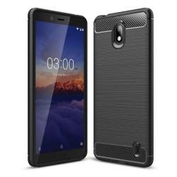 Funda Gel Tpu Tipo Carbon Negra para Nokia 1 Plus
