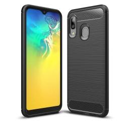 Funda Gel Tpu Tipo Carbon Negra para Samsung Galaxy A20e 5.8