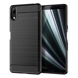 Funda Gel Tpu Tipo Carbon Negra para Sony Xperia L3