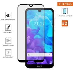 Protector Cristal Templado Completo 5D Full Glue Negro para Huawei Y5 2019 Vidrio