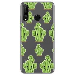 Funda Gel Transparente para Huawei P30 Lite diseño Cactus Dibujos