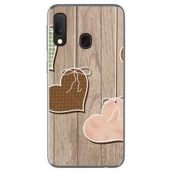 Funda Gel Tpu para Samsung Galaxy A20e 5.8 diseño Corazones Madera Dibujos