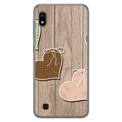 Funda Gel Tpu para Samsung Galaxy A10 diseño Corazones Madera Dibujos
