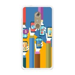 Funda Gel Tpu para Zte Axon 7 Diseño Apps Dibujos