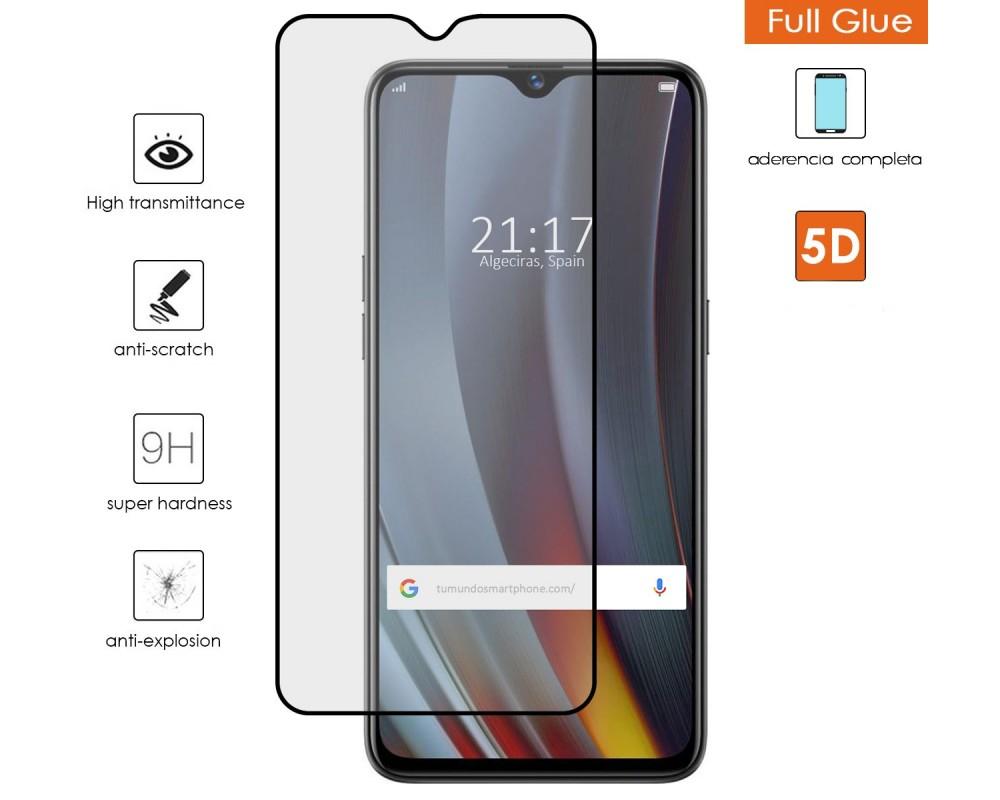 Protector Cristal Templado Completo 5D Full Glue Negro para Realme 3 Pro Vidrio