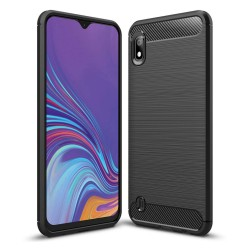 Funda Gel Tpu Tipo Carbon Negra para Samsung Galaxy A10