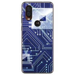 Funda Gel Tpu para Motorola One Vision diseño Circuito Dibujos