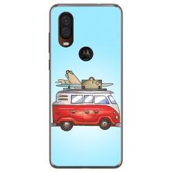 Funda Gel Tpu para Motorola One Vision diseño Furgoneta Dibujos