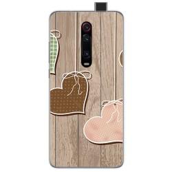 Funda Gel Tpu para Xiaomi Mi 9T / Mi 9T Pro diseño Corazones Madera Dibujos