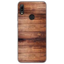 Funda Gel Tpu para Huawei Y6 2019 diseño Madera 02 Dibujos
