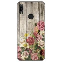 Funda Gel Tpu para Huawei Y6 2019 diseño Madera 08 Dibujos