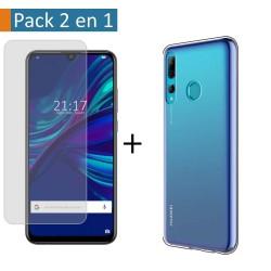 Pack 2 En 1 Funda Gel Transparente + Protector Cristal Templado para Huawei P Smart + Plus 2019
