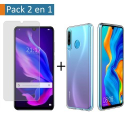 Pack 2 En 1 Funda Gel Transparente + Protector Cristal Templado para Huawei P30 Lite