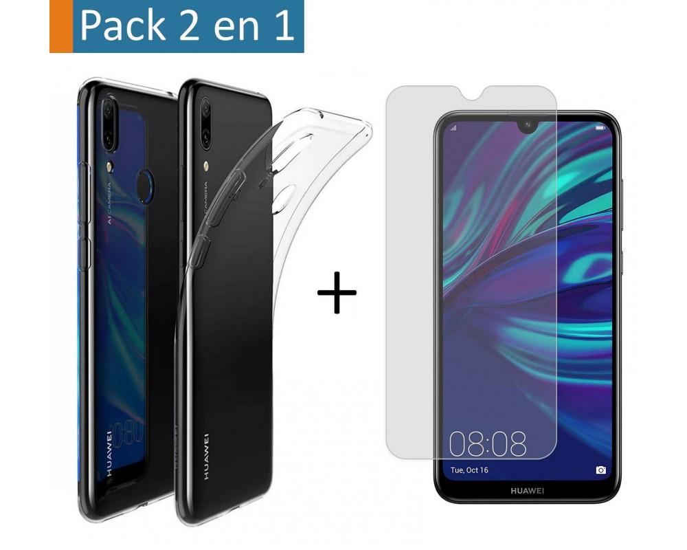 Pack 2 En 1 Funda Gel Transparente + Protector Cristal Templado para Huawei Y7 2019