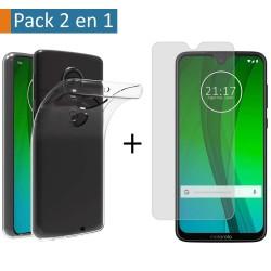 Pack 2 En 1 Funda Gel Transparente + Protector Cristal Templado para Motorola Moto G7 / G7 Plus