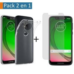 Pack 2 En 1 Funda Gel Transparente + Protector Cristal Templado para Motorola Moto G7 Play