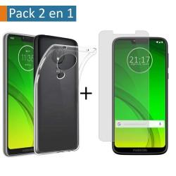 Pack 2 En 1 Funda Gel Transparente + Protector Cristal Templado para Motorola Moto G7 Power