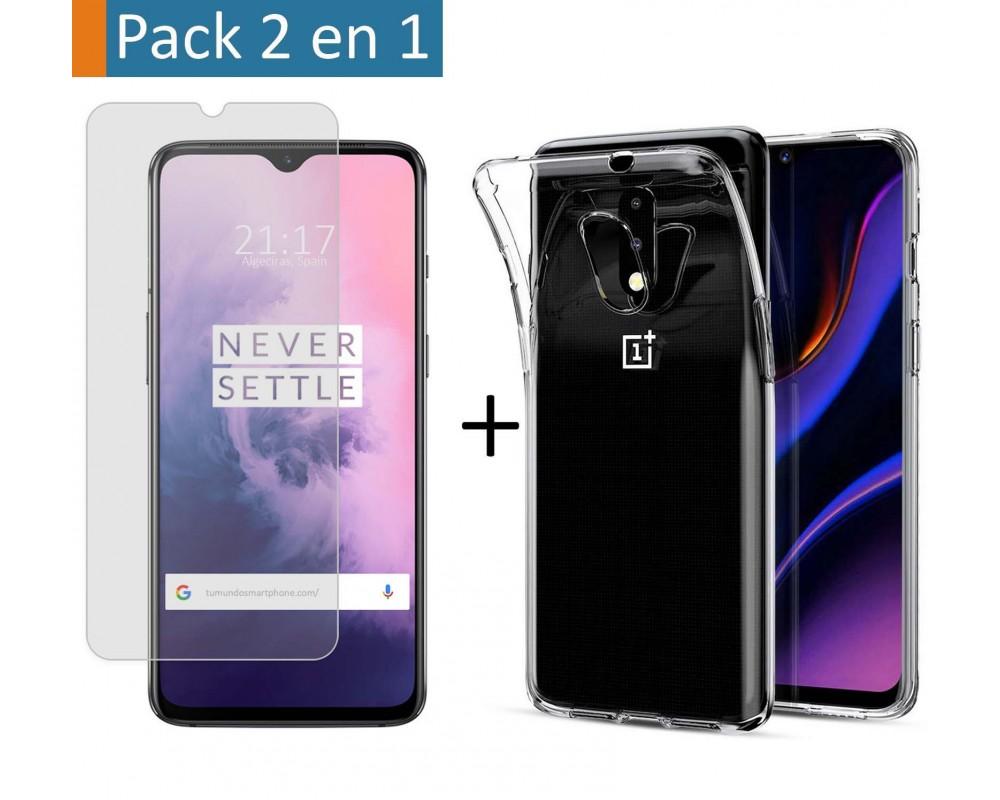 Pack 2 En 1 Funda Gel Transparente + Protector Cristal Templado para Oneplus 7