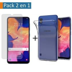 Pack 2 En 1 Funda Gel Transparente + Protector Cristal Templado para Samsung Galaxy A10