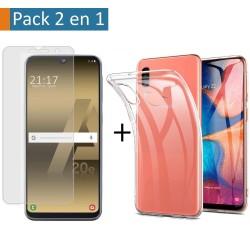 Pack 2 En 1 Funda Gel Transparente + Protector Cristal Templado para Samsung Galaxy A20e 5.8