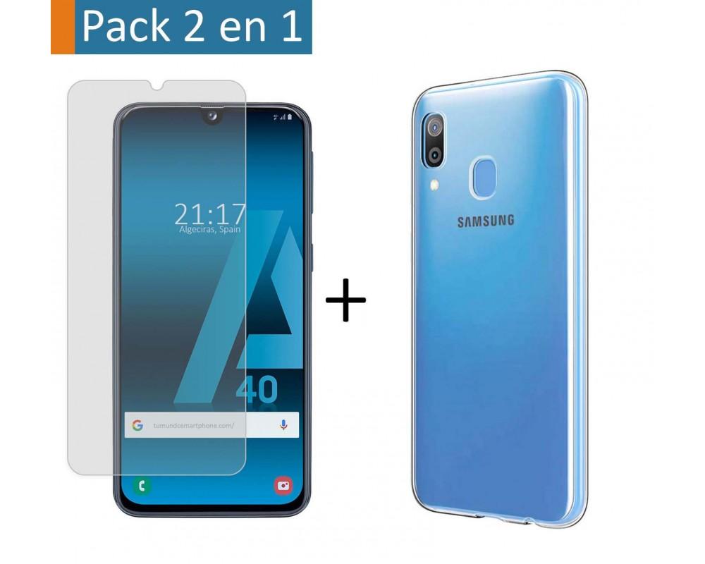 Pack 2 En 1 Funda Gel Transparente + Protector Cristal Templado para Samsung Galaxy A40