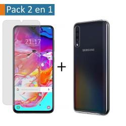 Pack 2 En 1 Funda Gel Transparente + Protector Cristal Templado para Samsung Galaxy A70