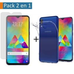 Pack 2 En 1 Funda Gel Transparente + Protector Cristal Templado para Samsung Galaxy M20