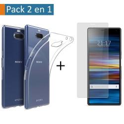 Pack 2 En 1 Funda Gel Transparente + Protector Cristal Templado para Sony Xperia 10 Plus