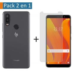 Pack 2 En 1 Funda Gel Transparente + Protector Cristal Templado para Vsmart Active 1