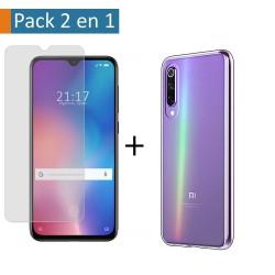 Pack 2 En 1 Funda Gel Transparente + Protector Cristal Templado para Xiaomi Mi 9 SE