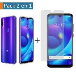 Pack 2 En 1 Funda Gel Transparente + Protector Cristal Templado para Xiaomi Mi Play