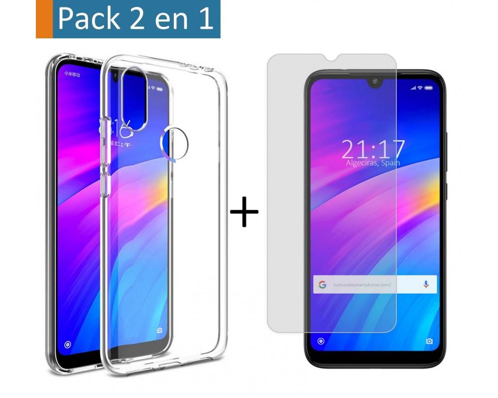 Pack 2 En 1 Funda Gel Transparente + Protector Cristal Templado para Xiaomi Redmi 7