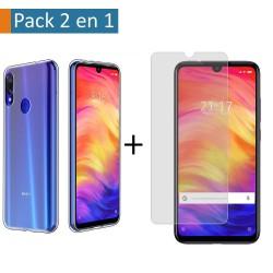 Pack 2 En 1 Funda Gel Transparente + Protector Cristal Templado para Xiaomi Redmi Note 7