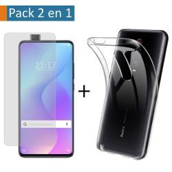 Pack 2 En 1 Funda Gel Transparente + Protector Cristal Templado para Xiaomi Mi 9T / Mi 9T Pro