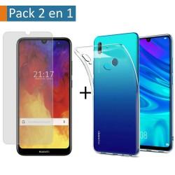 Pack 2 En 1 Funda Gel Transparente + Protector Cristal Templado para Huawei Y6 2019 / Y6s 2019