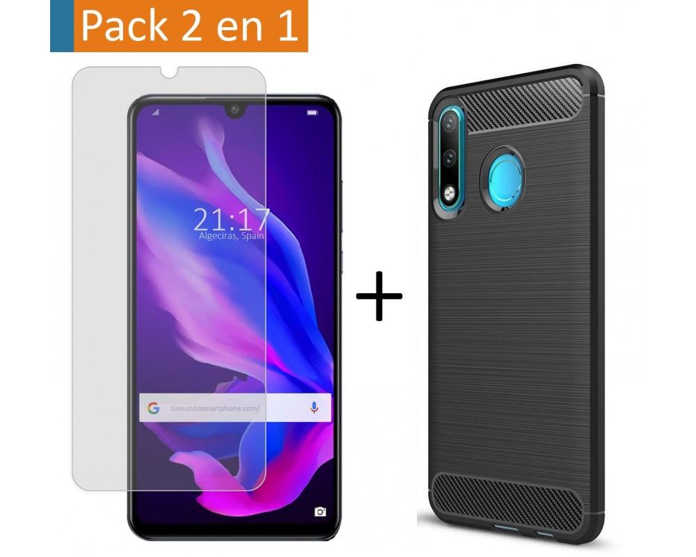 Pack 2 En 1 Funda Gel Tipo Carbono + Protector Cristal Templado para Huawei P30 Lite