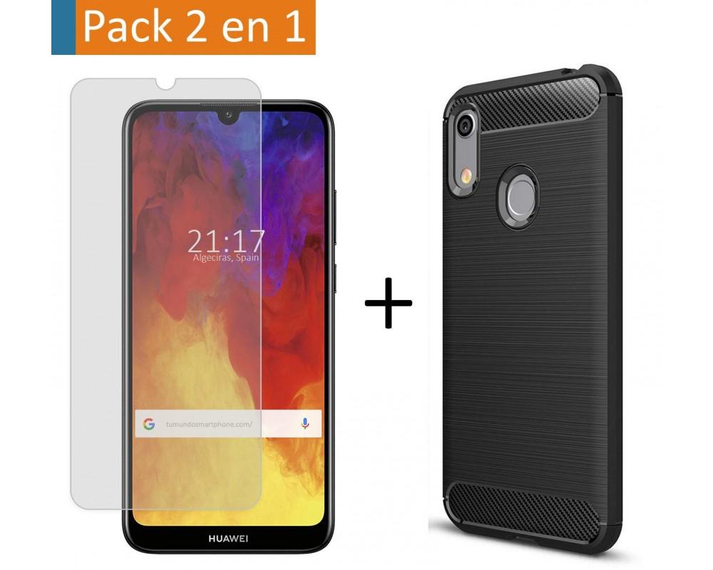 Pack 2 En 1 Funda Gel Tipo Carbono + Protector Cristal Templado para Huawei Y6 2019 / Y6s 2019